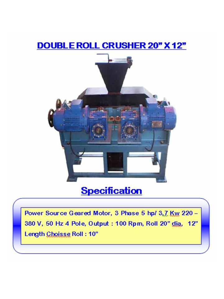 Alat laboratorium teknik sipil DOUBLE ROLL CRUSHER 20